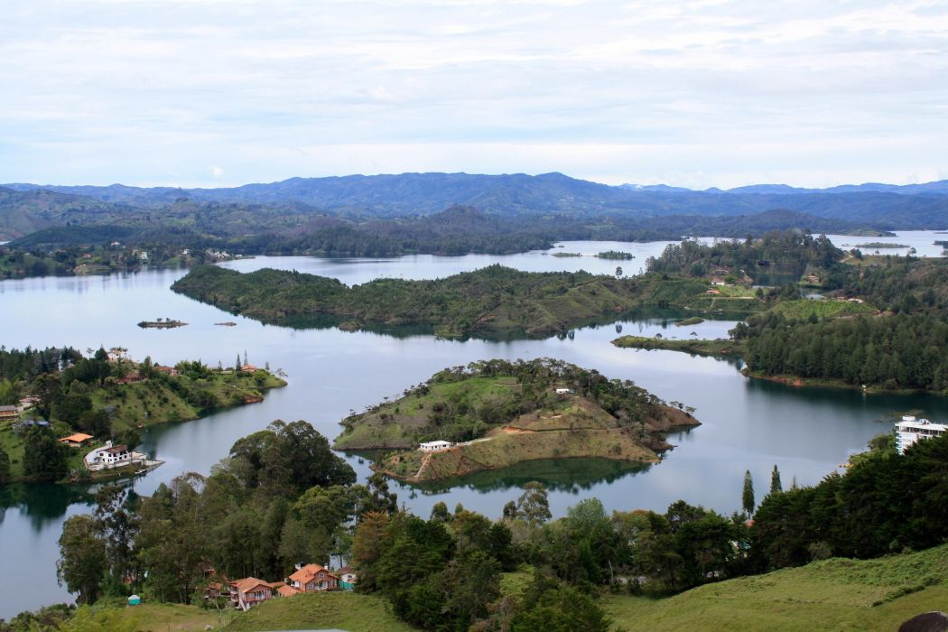 landscape river Guatape Colombia Top nature wallpaper