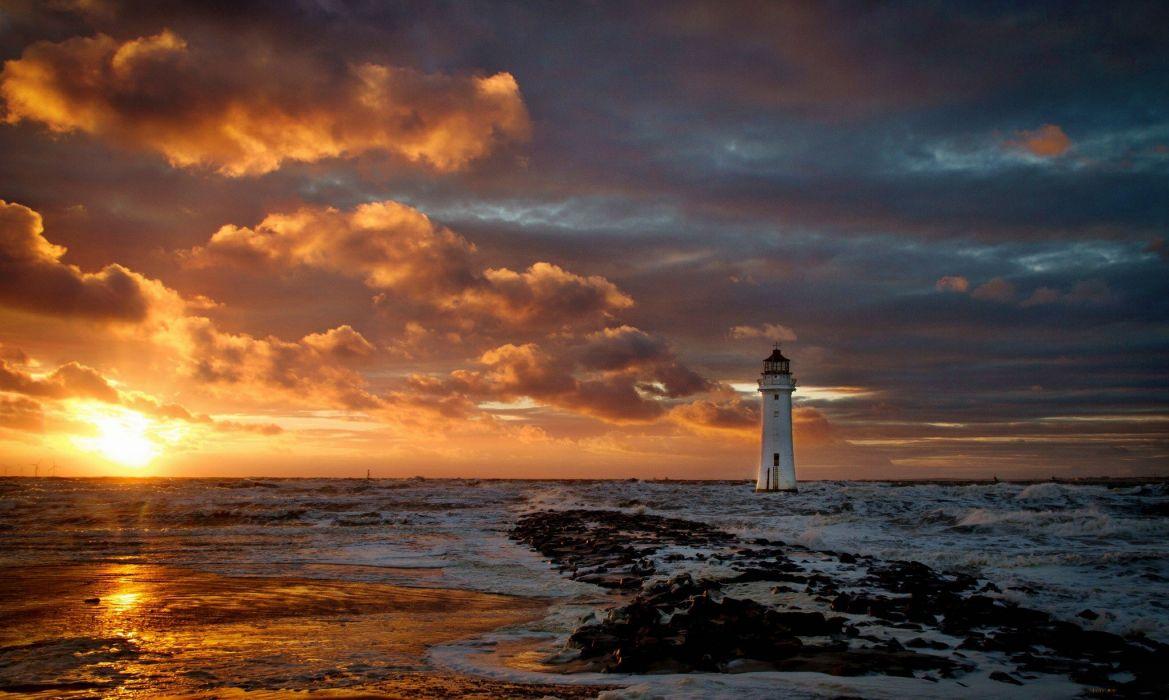 lighthouse sea ocean wallpaper