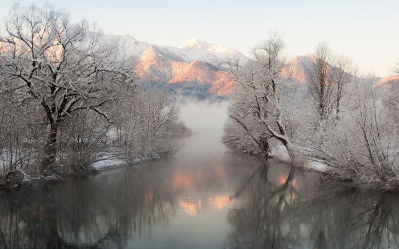 reflection mountains snow river trees winter fog wallpaper