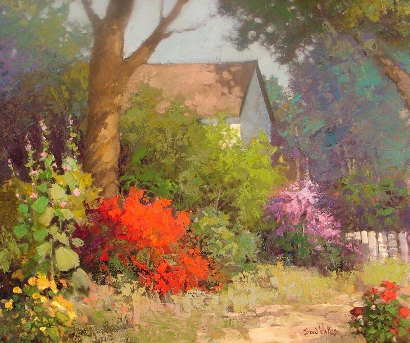 Sean Wallis Country Bloom Art painting garden wallpaper