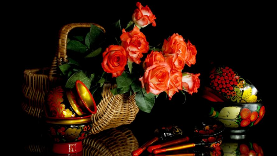 still life roses spoons painting basket wallpaper