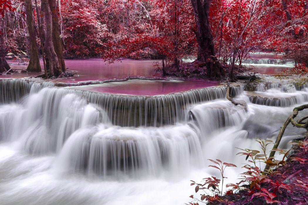 waterfall river Flow Autumn Purple wallpaper