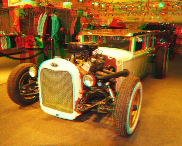 3D anaglyph Glasses hot rod vintage cars wallpaper