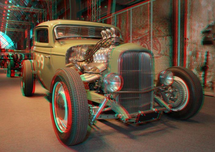 3D anaglyph Glasses hot rod vintage cars wallpaper