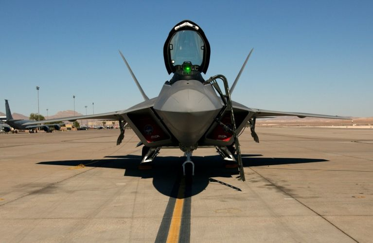 Air aircraft airplane f 22 Flight force Military raptor weapons wallpaper