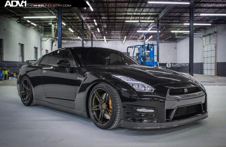 ADV1 wheels nissan gtr black tuning wallpaper