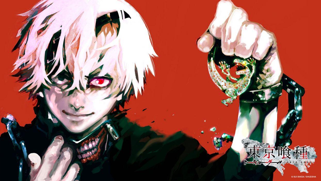 Tokyo ghoul anime gore red shot hair white red eyes mascara crazy wallpaper