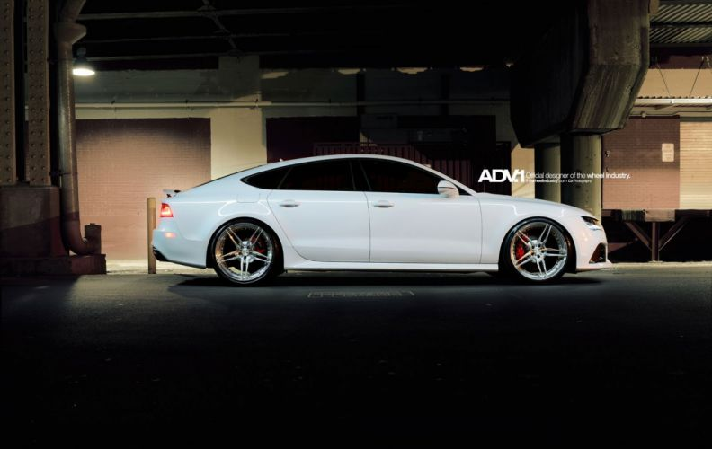 ADV1 wheels AUDI RS7 coupe tuning white wallpaper