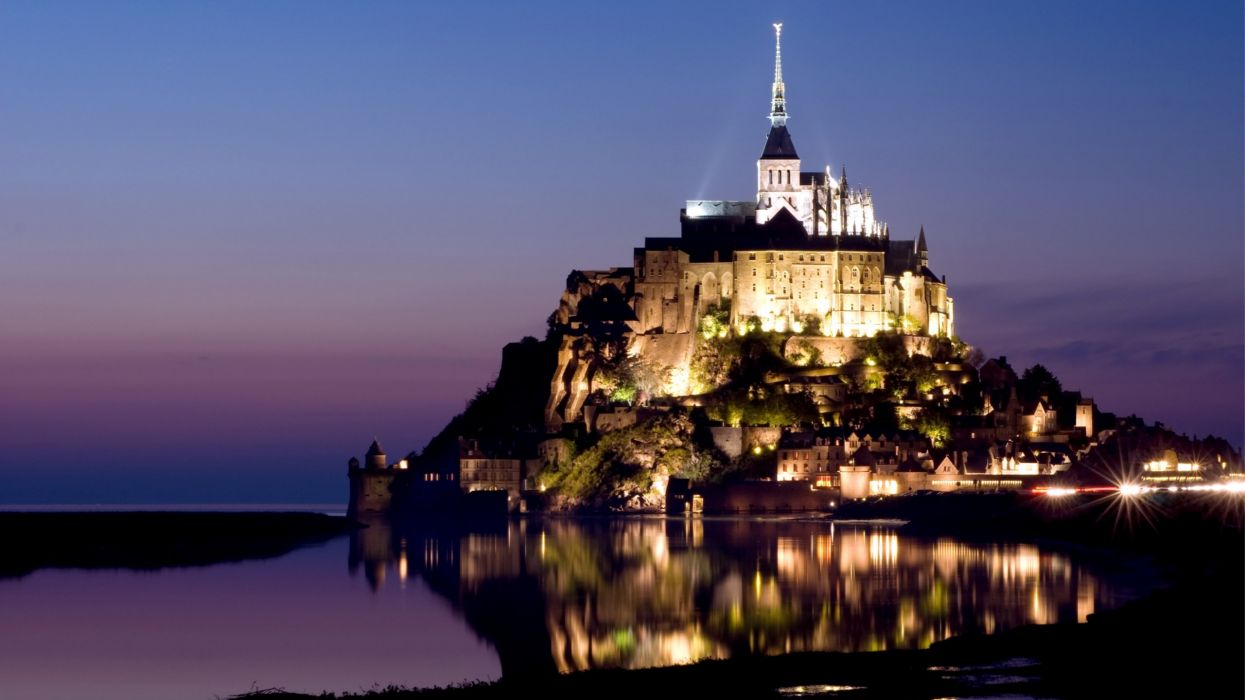 Le Mont Saint-Michel Castle french france saint michel monastery church abbey cathedral wallpaper