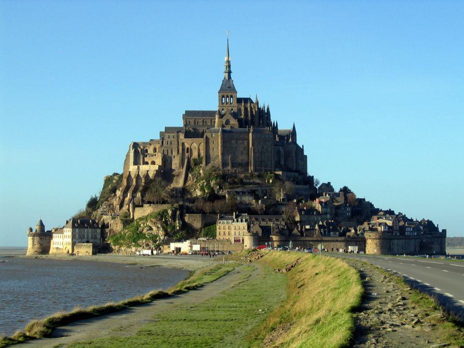 Le Mont Saint-Michel Castle french france saint michel monastery church abbey cathedral wallpaper