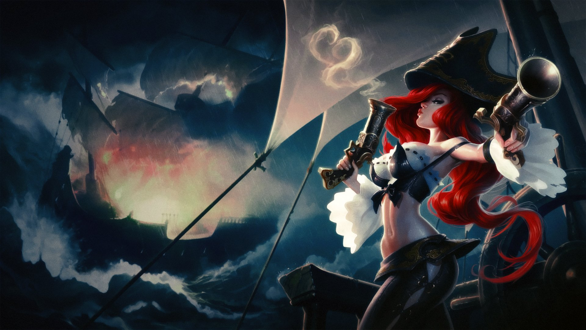 Blue, classic, cloudy, Fortune, legends, lol, miss, pirate, red, Sea, storm, game, games, graphics wallpaper