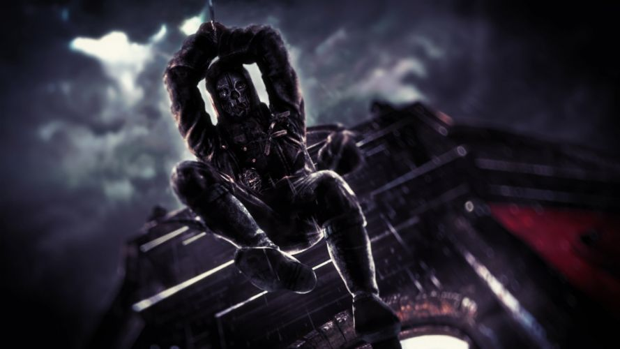 dishonored knight nife red clouds night sky mask jump dark iron castle wallpaper