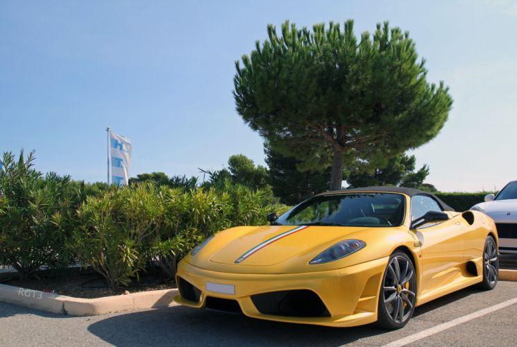 16m 2009 Ferrari scuderia spider Supercar supercars jaune yellow wallpaper