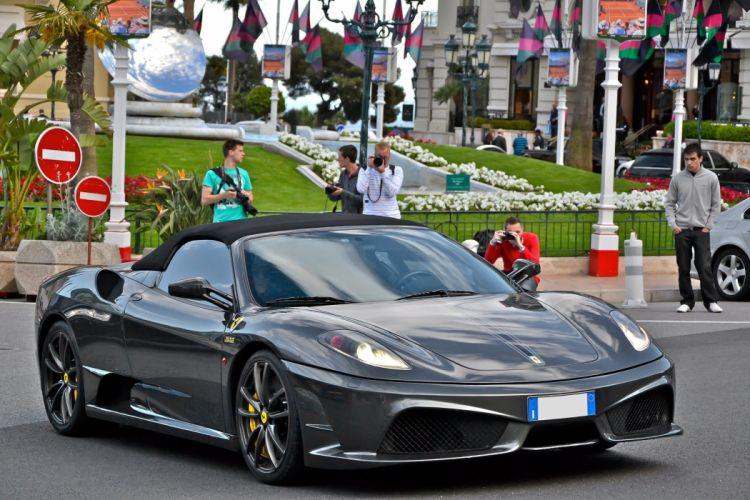 16m 2009 Ferrari jaune scuderia spider Supercar supercars noir black nero wallpaper