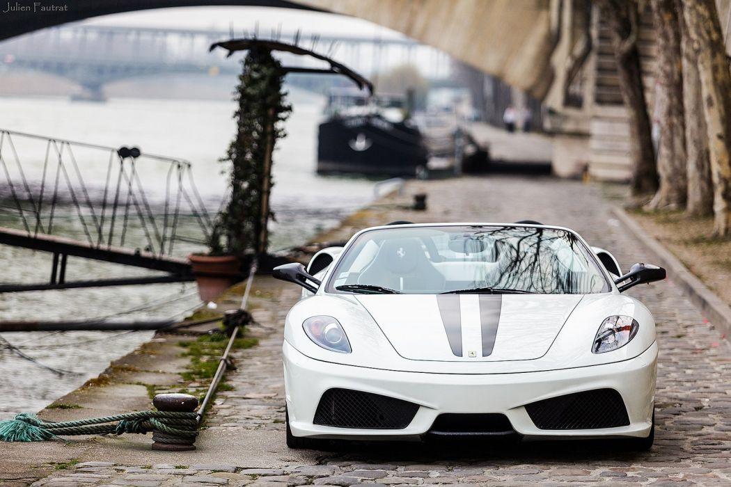16m 2009 Ferrari scuderia spider Supercar supercars white blanc blanco wallpaper