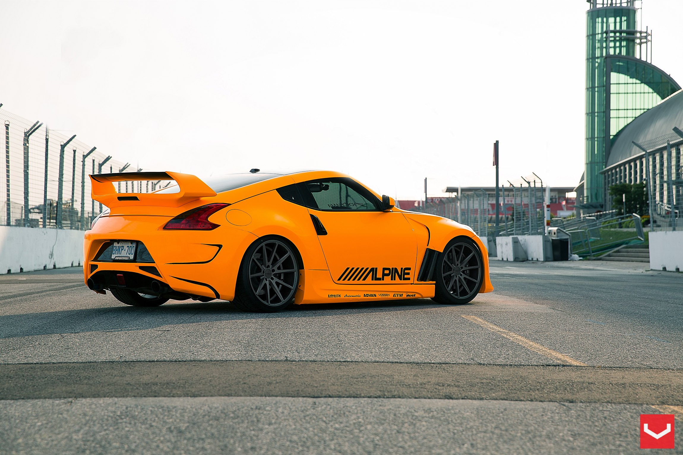 nissan 370z tuning vossen wheels orange wallpaper. Black Bedroom Furniture Sets. Home Design Ideas