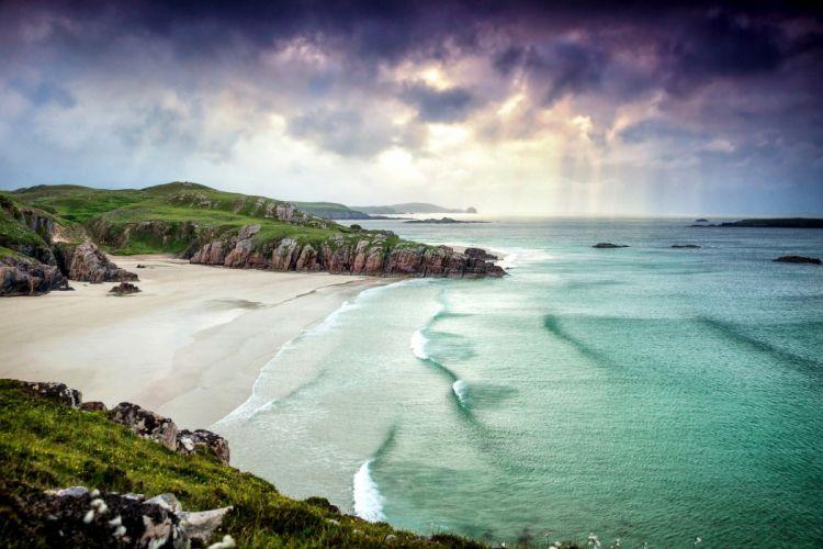 alba scotland landscape great britain ocean sea beach coast wallpaper