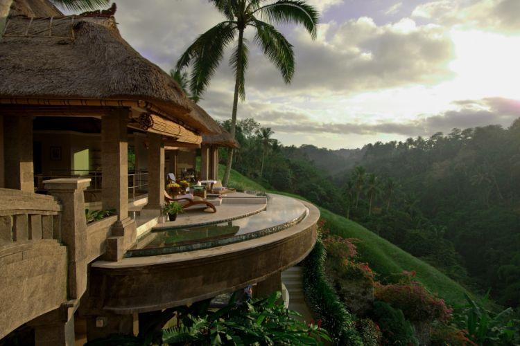 home tropical landscape nature house palm trees design wallpaper