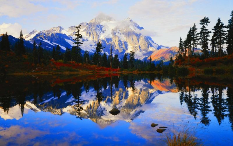 lake nature forest mountains reflection wallpaper
