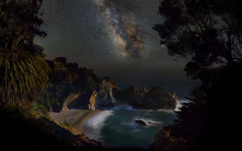 Milky Way beach stars beach sea sky night ocean sea wallpaper