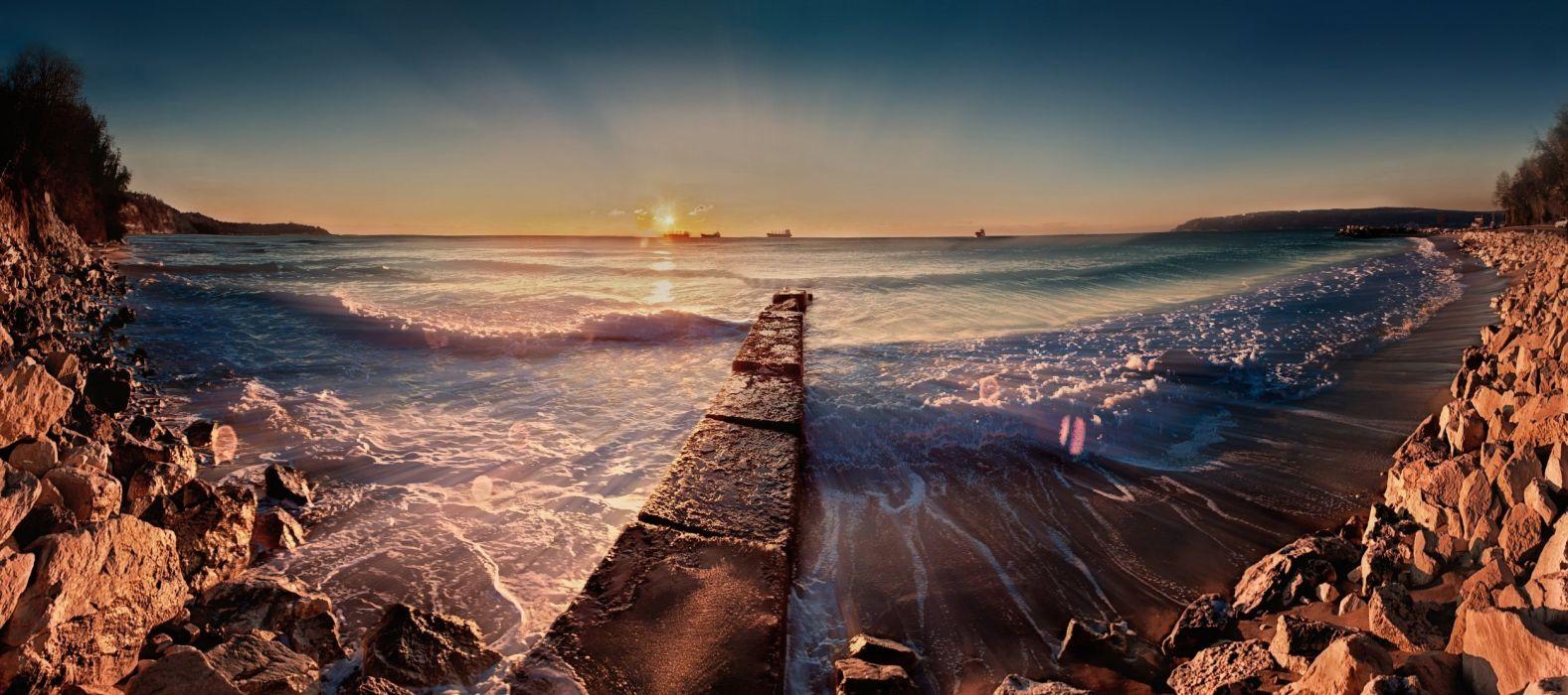 morning surf bulgaria coast sea stones wallpaper