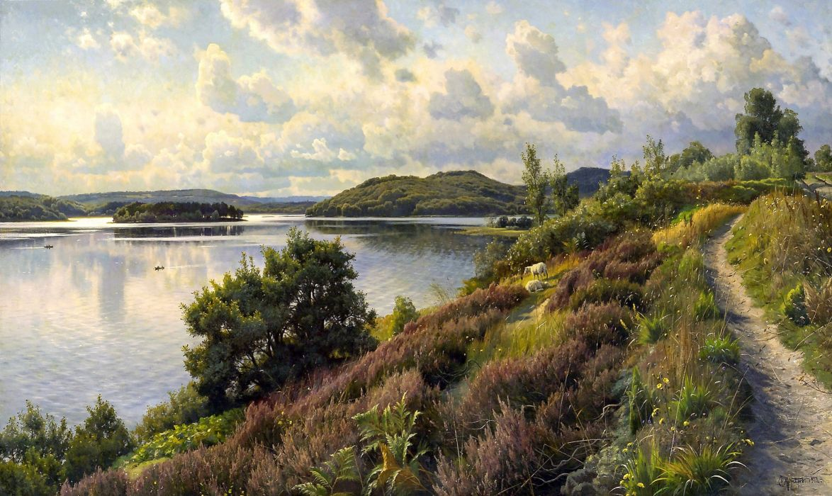 Monsted painting landscape river wallpaper