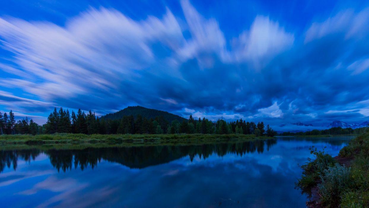 National Park Grand Teton usa united states river lake night reflection wallpaper