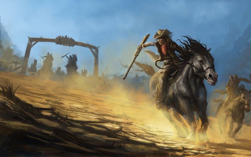 painting hats bandits cowboy western rustic battle wallpaper