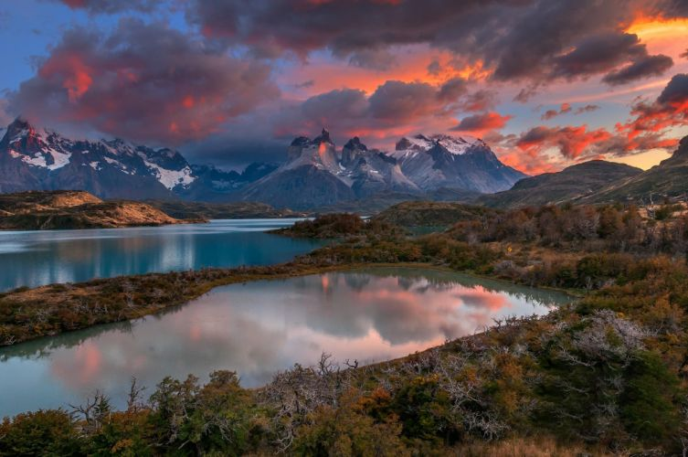 Patagonia Chile river clouds mountains wallpaper