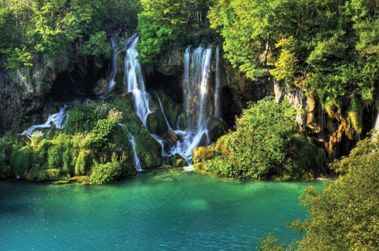 nature the nature waterfalls trees river wallpaper