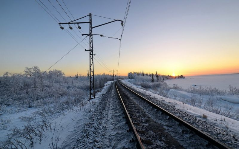 railroad winter snow morning train tracks wallpaper