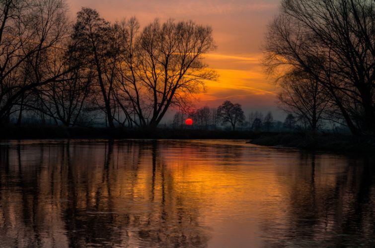 river sunset trees reflection wallpaper