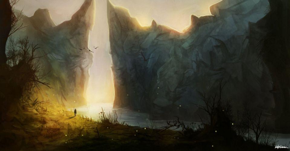 rocks landscape art man mountains fantasy wallpaper