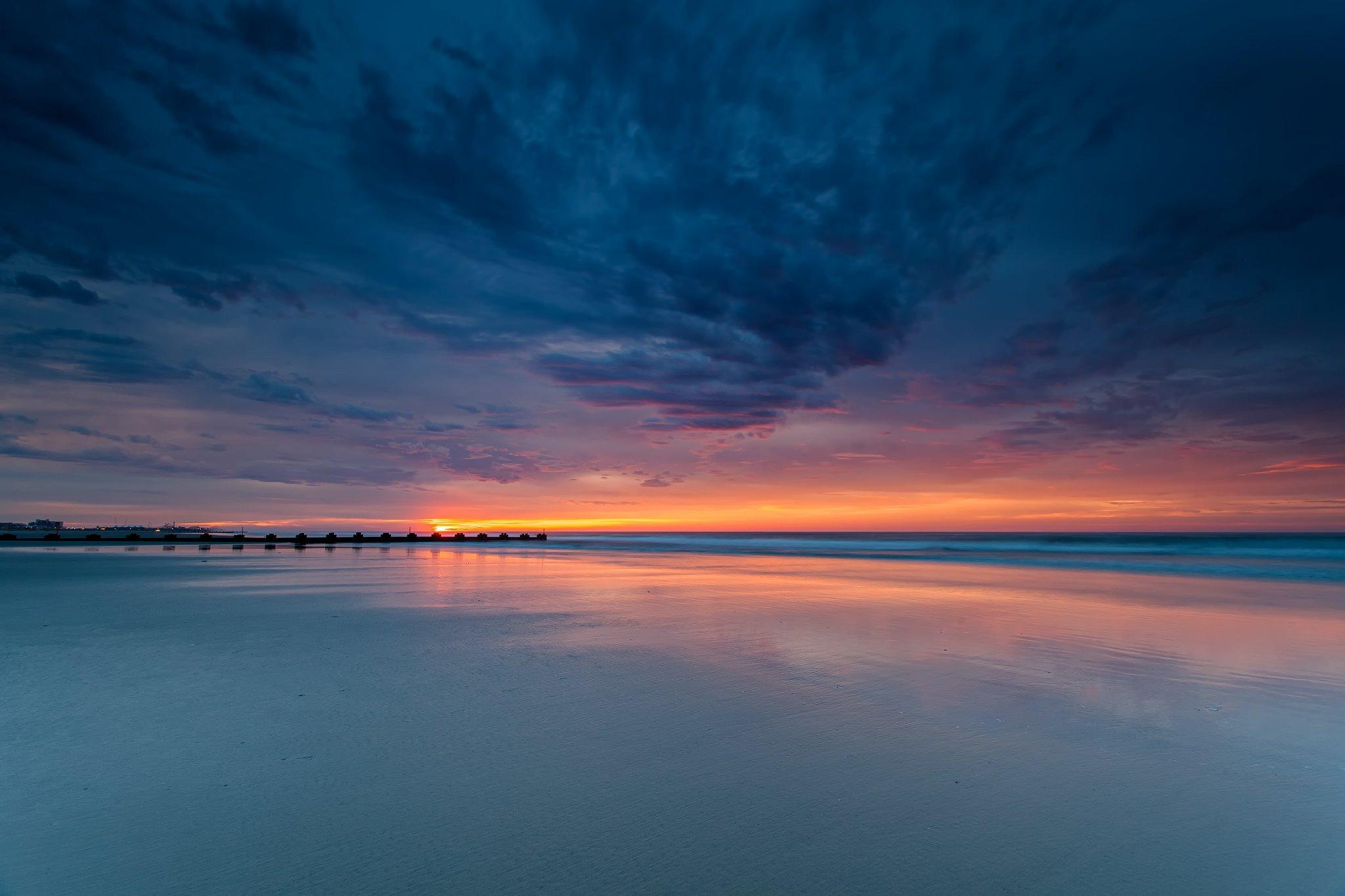 Sunset Nature Evening Water Sea Sky Wallpaper