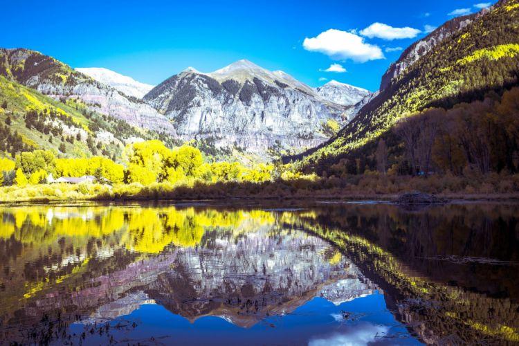 mountain lake forest usa colorado colorado telluride telluride reflection wallpaper