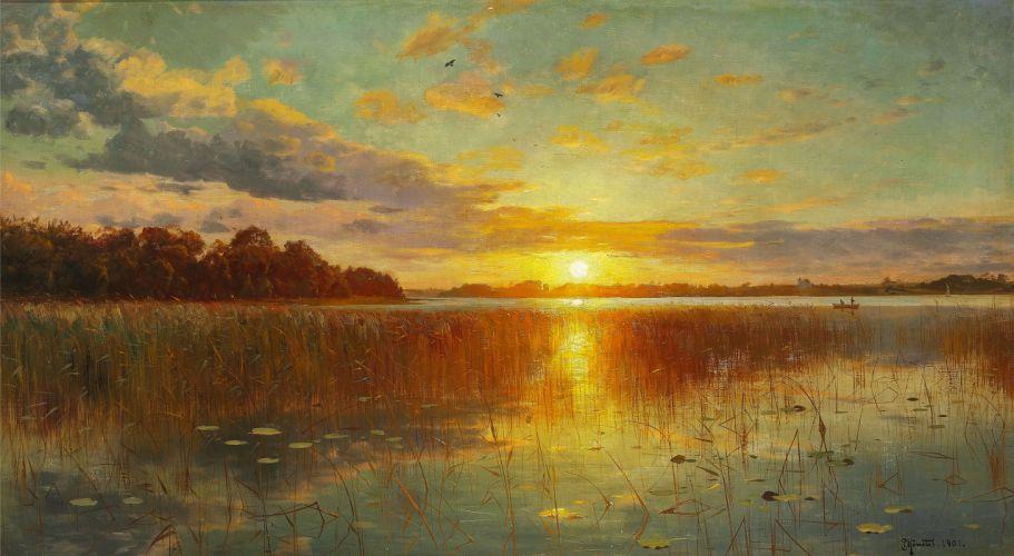 peder monsted sky landscape painting river wallpaper