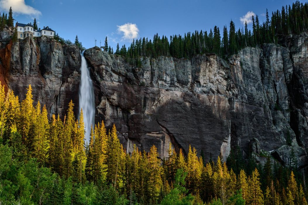mountains waterfalls forest usa colorado cliff wallpaper