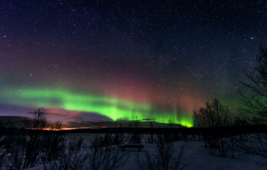 severnoe lights landscape winter snow finland northerb stars sky wallpaper