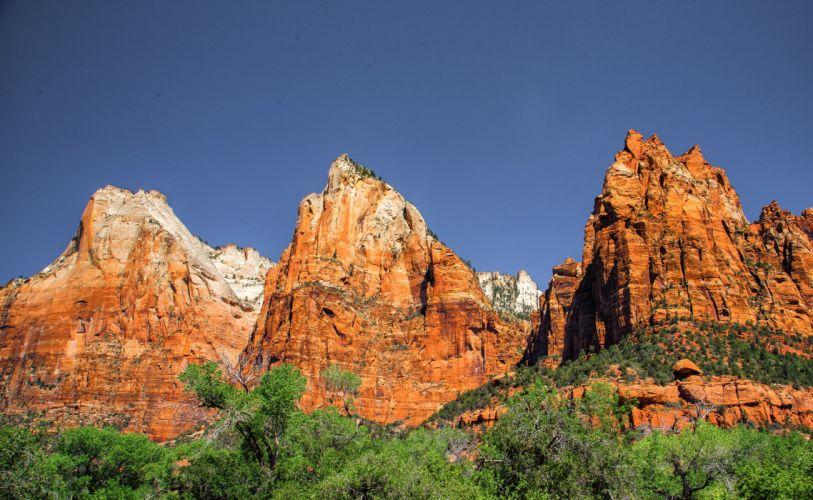 zion national park utah desert mountains landscape wallpaper