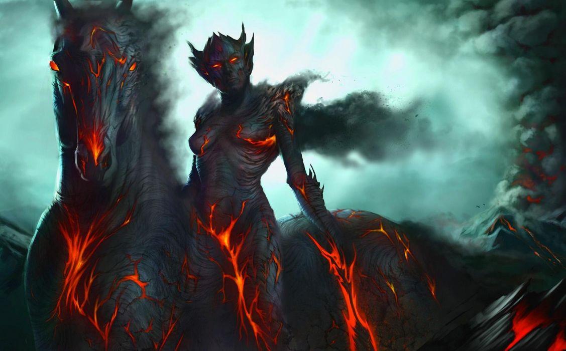 dark demon fantasy warrior horse wallpaper