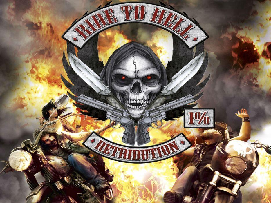 RIDE TO HELL RETRIBUTION action adventure biker fighting dark skull wallpaper