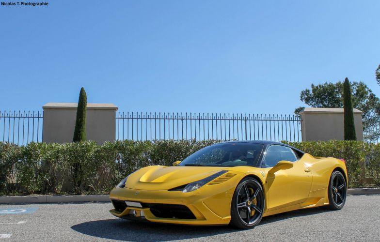 2013 458 Ferrari speciale Supercar jaune yellow giallo wallpaper