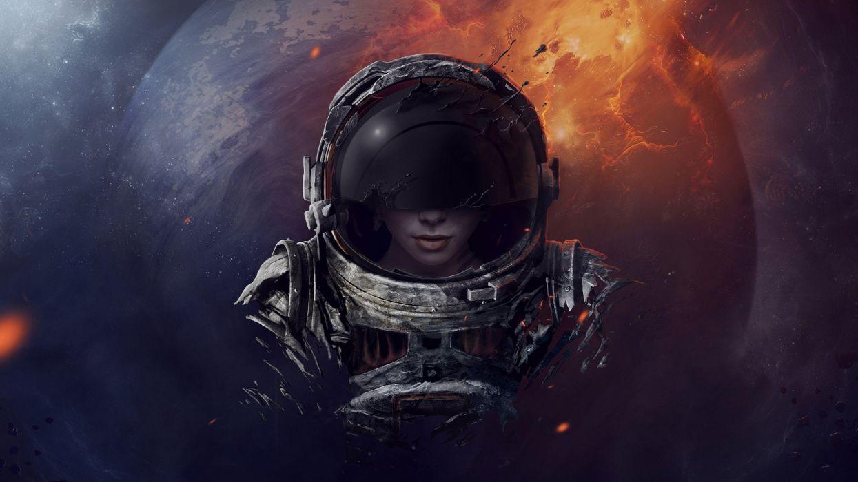 astronaut helmet girl planet wallpaper