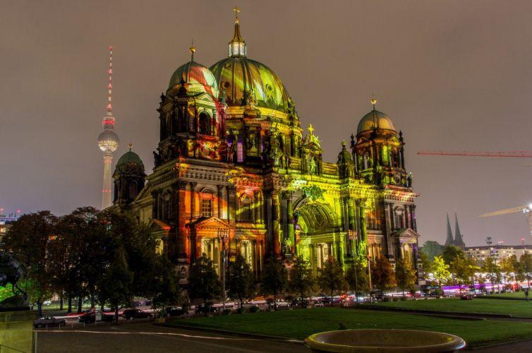 berlin Germany building color lights f wallpaper