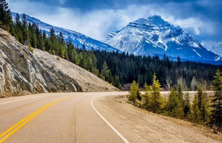 canada jasper national park road mountains wallpaper