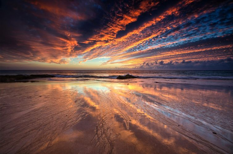 clouds sunset sea tide reflection beach sky wallpaper
