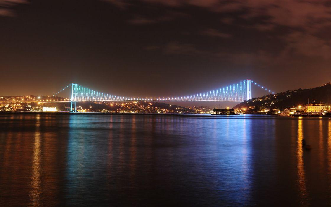 istanbul turkey city sea of marmara bridge road reflection wallpaper