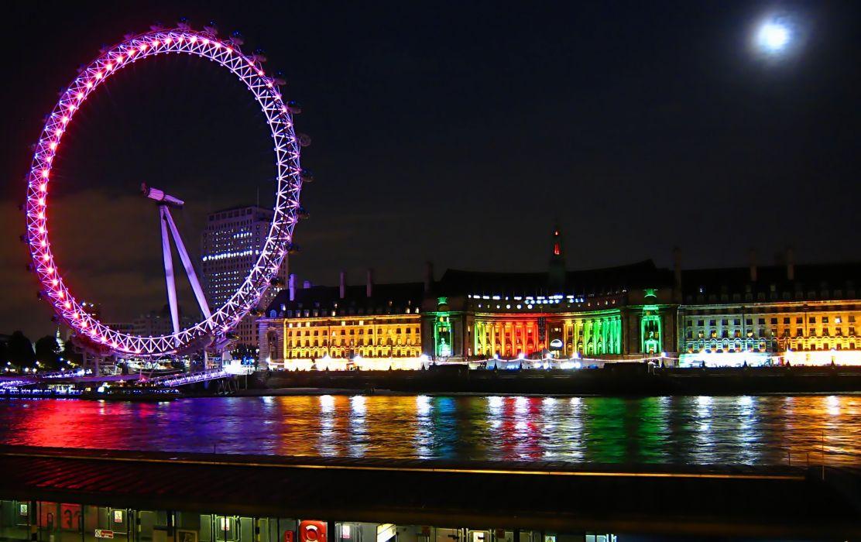 Eye London England River Thames reflection wallpaper