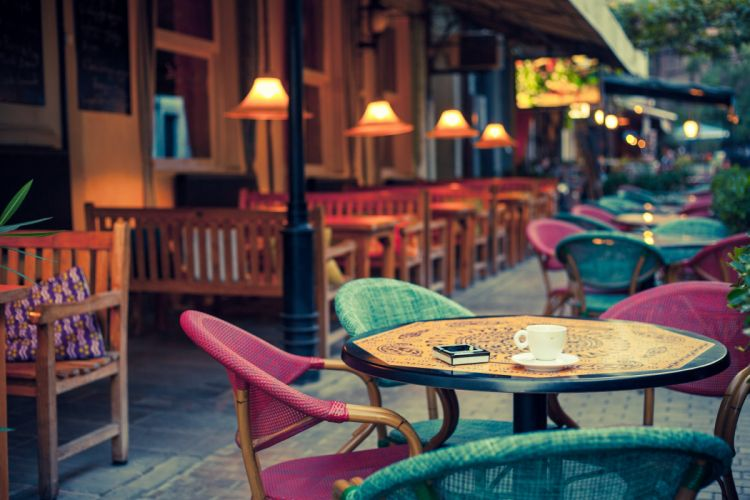 lamp tables old fashioned street cafe terrace chairs city design wallpaper