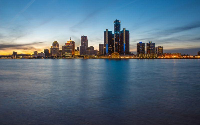 skyline blue hour evening detroit wallpaper